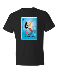 Loteria Shirts La sierena tshirt adult women tees mexican shirts graphic design inspired by La loteria Mexican Game. Designed and Printed Locally by San Diego, California, USA artist. Perfect outfit idea for your big boobs friend Birthday gift. A Cultural, Artistic, and Trendy Popular Tee.
