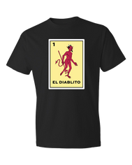 Loteria shirt El Diablito a devil looking to the side printed on a yellow card from the classic Mexican Loteria bingo game. Mexican shirts, Loteria Shirts sold by SDTradiang Co.