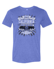 Heather royal short sleeve adult tee with route est 1850 california summer beach san diego verbiage in a 70 design