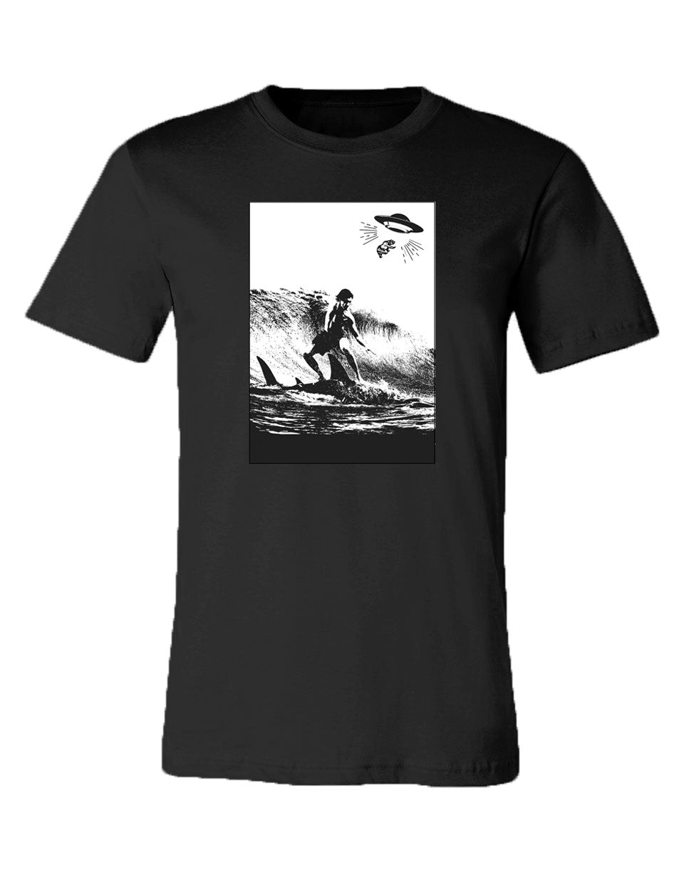 Heather Black shortsleeve triblend shirt featuring a surfer riding a shark and the California bear being kidnapped
