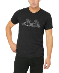 Heathered Black Short sleeve shirt with a Rectangle in center and 5 palm trees overlapping out of the box. SD Trading Co verbiage and logo in towards bottom right of box