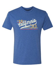 Adult heather royal triblend tee with verbiage 18 California 50 in a reto design with colors yellow blue red and off white