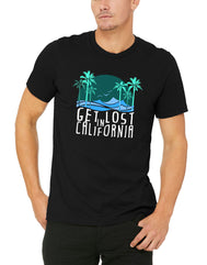 Adult solid black shortsleeve shirt with verbiage Get Lost in California and a sun, beach, palm trees and birds silhouettes in different shades of Blues