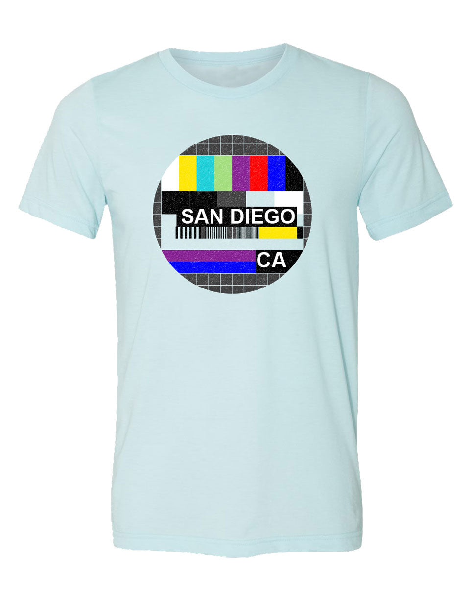 San Diego California old tv signal from the 80s graphic men tshirt. This shirt is retro and cool design by local San Diego shop. Analog signals from back in the day bring  back memories and now you can have them on a comfy soft heather ice blue tee. Sold by SDTrading Co.