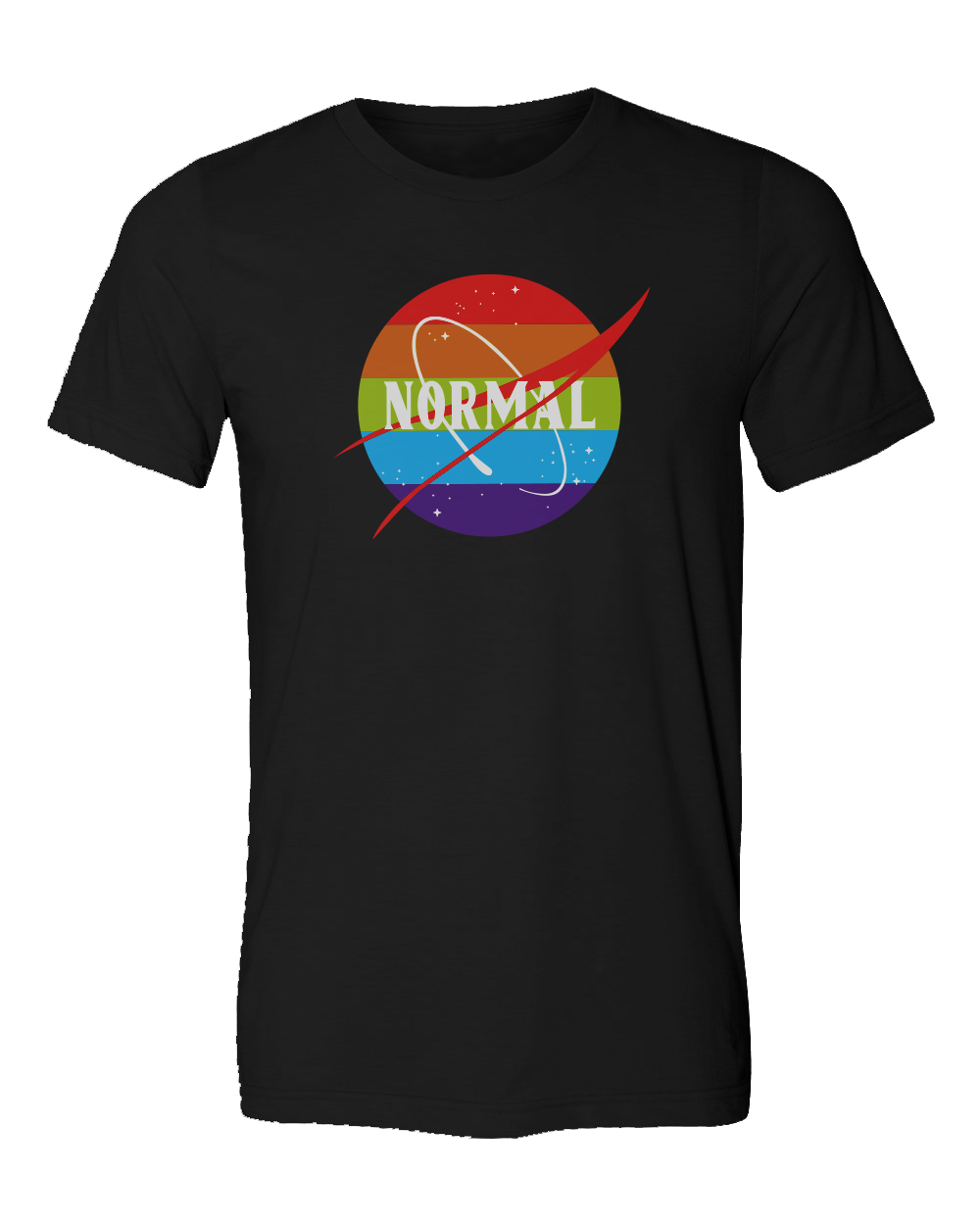 Unisex Men or Women Normal T-Shirt rainbow colors and stars. Design made in California, USA inspired by NASA, Pride, LGTBQ lesbian gay transsexual bisexual queer community. Normalize people. Trendy popular fashion and political.