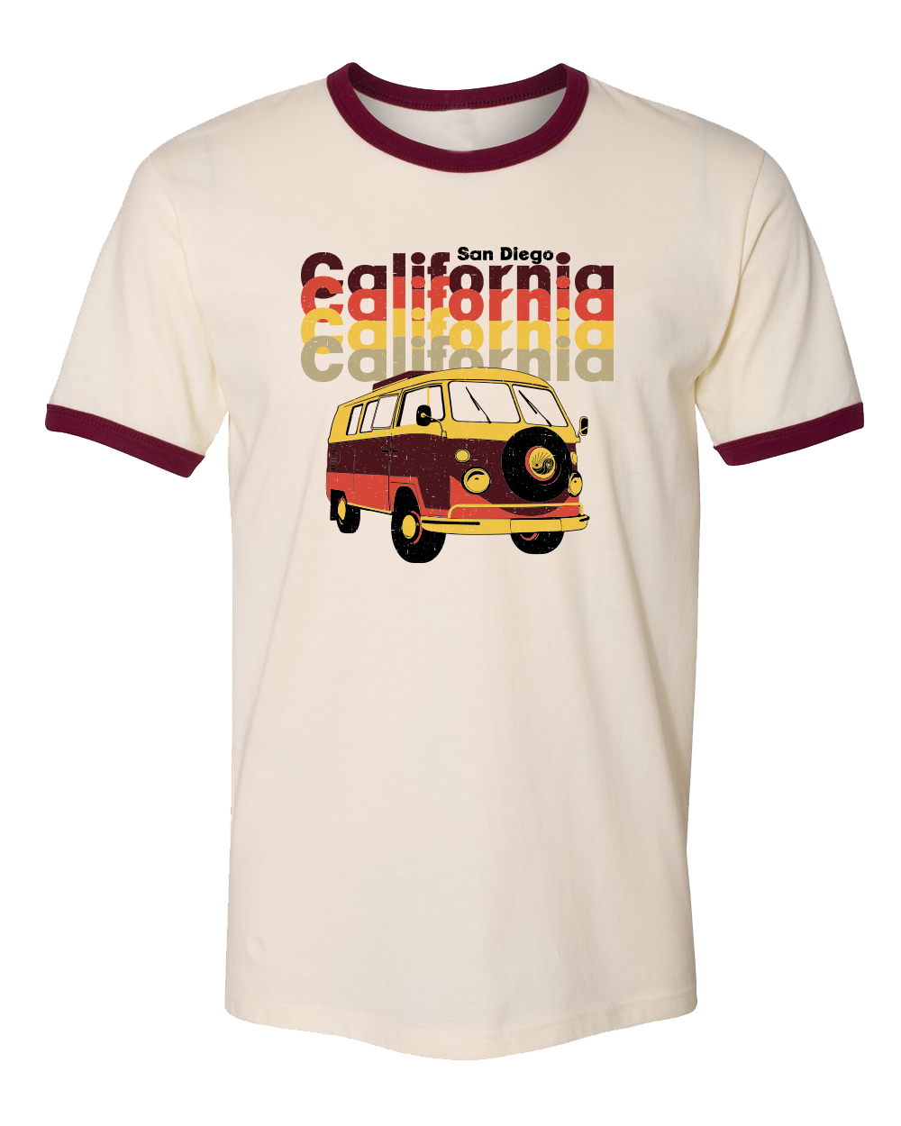 Solid Natural men's tshirt with maroon ribbing on colar and sleves. San Diego verbiage and California repeated four times with a volk wasgon van underdeath in orange yellow khaki colors. Sold by SDTrading Co.