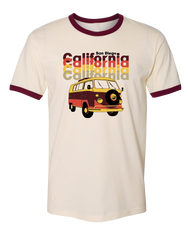 Solid Natural men's tshirt with maroon ribbing San Diego verbiage and California repeated 4x and a vw van in maroon orange yellow khaki colors