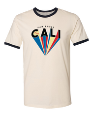 Men or Women Unisex  Short Sleeve T-Shirt. Natural garment with ribbed black collar and sleeves. Graphic design by local San Diego, California artist. Colorful prism rays in blue, red, and light yellow form the word cali. Sold by SDTrading Co.