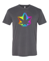 Men's or women marijuana graphci t-shirt. Halo of bright red, yellow, blue, purple, pink surrounded silhouette  of marihuana leaf. Legal in many states such as California. Cool tee must have.