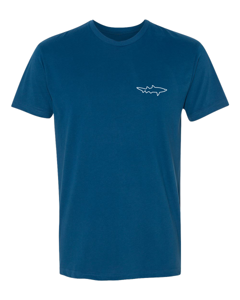 San Diego, California sueded soft graphic tshirt. Daddy Shark printed on a heather blue tshirt with  with shark outlined on front upper left chest. Sold by SDTrading Co.