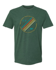 California graphic Olympia men's T-shirt. Silk printed on a soft sudeded forest green tee. Cirlce formed with San Diego Trading Company on top and California Lifestyle Apparel on bottom all in yellow. CA on left side of inner circle followed by four diagnol colored lines and a bear on right inner circle. Unique custom shirt Sold by SDTrading Co.