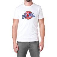 A solid white short sleeve tee with a red target and words Cali Vibes written in Blue outlines in white and again in black