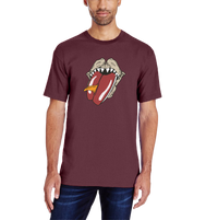 Maroon Shortsleeve Tee with the iconic Megadolon sharks jaw devouring a surfboard inspired by the famous Rolling Stones logo