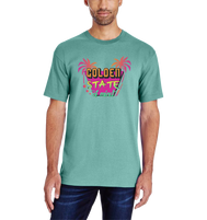 Solid Seafoam men's tshirt with maroon State of Mind verbiage with 1 palm tree on each side in pink and orange yellow and green colors