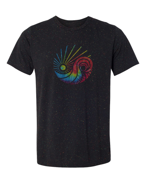 Men or Women Unisex Short Sleeve T-Shirt. Black specked with colorful threads. Graphic design by local San Diego, California artist. Exclusive logo printed with discharge to create an hombre faded tie dye colorful design. Sold by SDTrading Co.