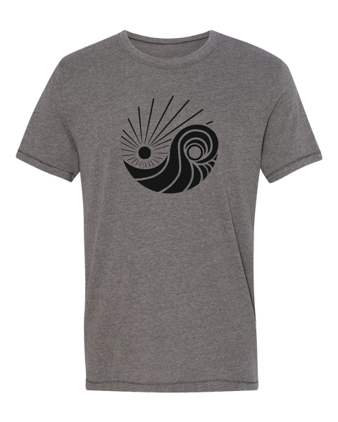 Exclusive graphic tshirt unisex men or women. Printed on a premium garment color vintage coal with San Diego Trading Company's logo in all black print. Logo features a circle composed of a sun at the top and a wave that  resemble a ying yang.