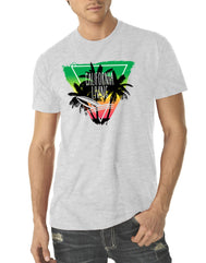 Heather White short Sleeve tee with an upside down triangle filled in green yellow red  featuring California Living 3 palm tree silhouettes and a surf board in water