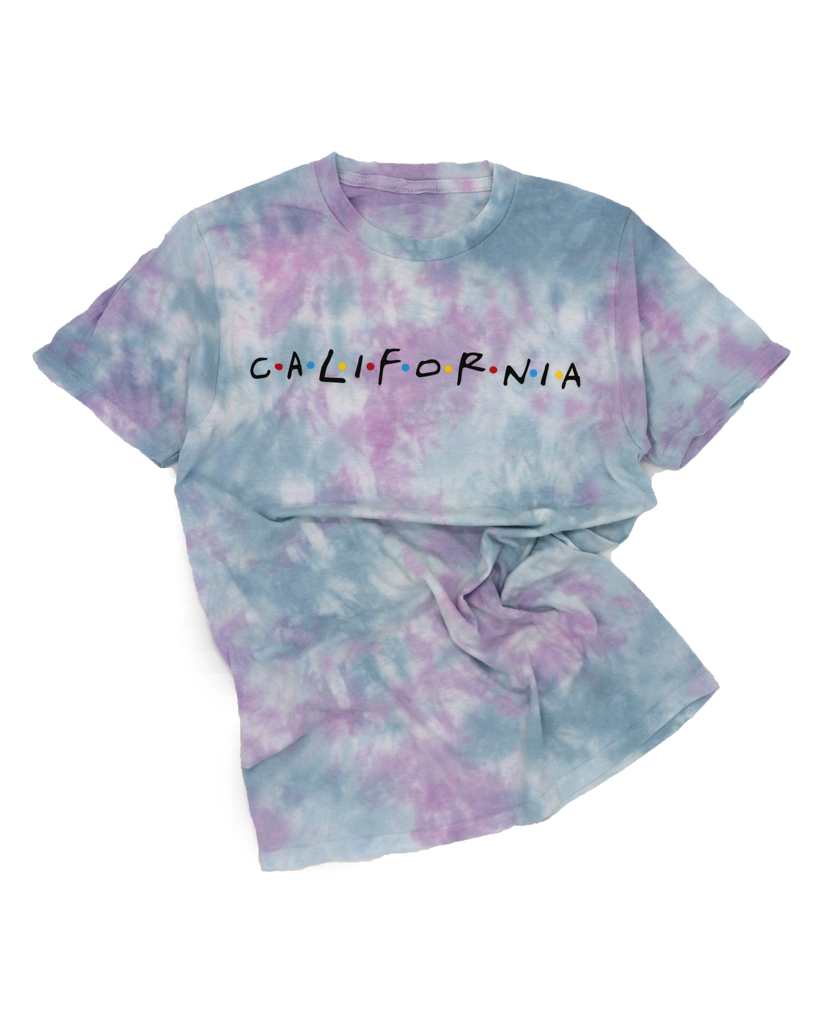California friends tshirt graphic design inspired by the comedy friends sitcom show friends. Lovely Tie Dye California Shirt. Women Shirts or Men Shirts unisex. Sold by SDTrading Co.