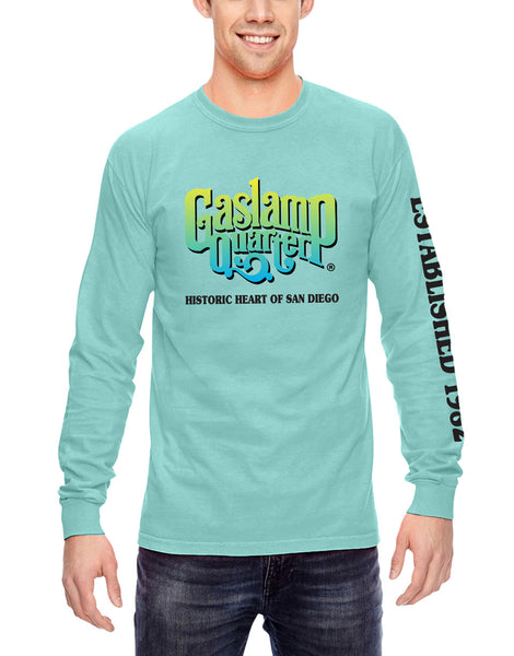 Solid mint long sleeve shirt with Gaslamp Quarter Logo Historic heart of san diego below it and established 1982 verbiage on the left sleeve