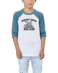 Boys or Girls unisex raglan t-shirt white and denim graphic submarine t-shirt. Great for back to school, summer, and everyday wear for youth. Cool laid back Cali Graphic Design by local San Diego, California Artist. Design, Printed, and Sold by San Diego Trading Co.