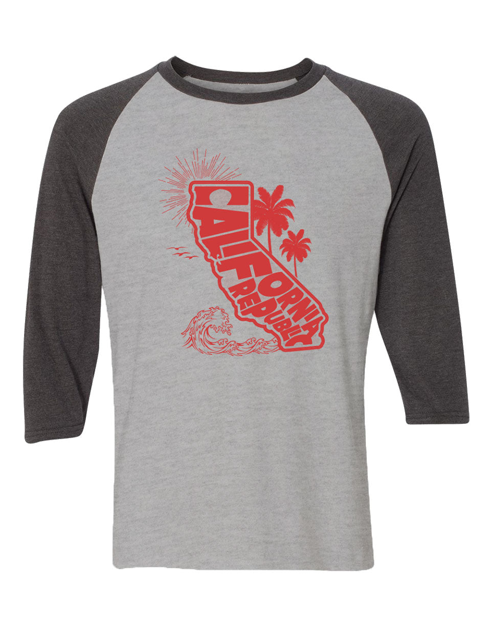 Adult Heather Grey raglan with heather charcoal sleeves featuring the CA Map with California Republic verbiage and shilouettes of the sun birds waves and palm trees around it