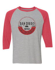 Adult gray raglan with red sleeves featuring the california bear with verbiage San Diego Est 1850 tough California