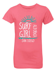 Girls surfboard hot pink graphic t-shirt. Great for beach, back to school, summer, and everyday wear for youth. Cool laid back Cali Graphic Design by local San Diego, California Artist. Design, Printed, and Sold by San Diego Trading Co.