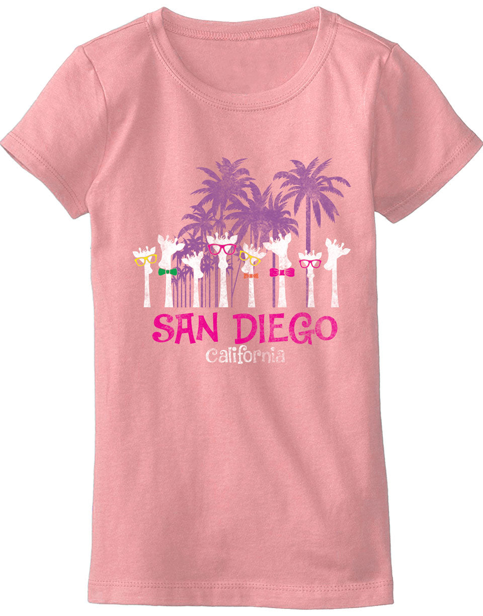 Girls giraffe graphic pink t-shirt. Unique Great for back to school, summer, and everyday wear for youth. Cool laid back Cali Graphic Design by local San Diego, California Artist. Design, Printed, and Sold by San Diego Trading Co.