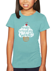 Girls cupcake with cherry cancun graphic t-shirt. Fun, Beautiful, Classy Tee. Great for walks on sunny days to the beach, back to school, summer, and everyday wear for youth. Cool laid back Cali Graphic Design by local San Diego, California Artist. Design, Printed, and Sold by San Diego Trading Co.