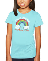Girls rainbow cancun color graphic t-shirt. Fun, Beautiful, Classy Tee. Cool laid back Cali Graphic Design by local San Diego, California Artist. Design, Printed, and Sold by San Diego Trading Co.