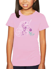 Girls unicorn sparkly lilac graphic t-shirt. Fun, Beautiful, and Girly Tee. Great for beach, back to school, summer, and everyday wear for youth. Cool laid back Cali Graphic Design by local San Diego, California Artist. Design, Printed, and Sold by San Diego Trading Co.