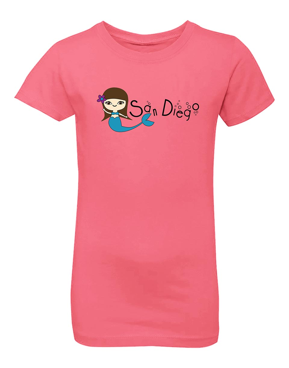 Girls mermaid hot pink t-shirt. Unique shirt for the beach and great for back to school, summer, and everyday wear for youth. Cool laid back Cali Graphic Design by local San Diego, California Artist. Design, Printed, and Sold by San Diego Trading Co.