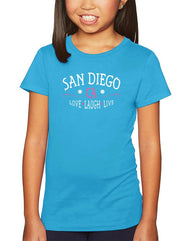 Girls San Diego, CA love, laugh, live turquoise graphic t-shirt. Fun, Beautiful, and Girly Tee. Great for back to school, summer, and everyday wear for youth. Cool laid back Cali Graphic Design by local San Diego, California Artist. Design, Printed, and Sold by San Diego Trading Co.