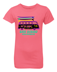 Girls volks wagon with surfboards hot pink graphic t-shirt. Fun, Beautiful, Classy Tee. Great for beach, back to school, summer, and everyday wear for youth. Cool laid back Cali Graphic Design by local San Diego, California Artist. Design, Printed, and Sold by San Diego Trading Co.
