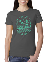 Women's light gray crew neck tee with teal beach wave sun palm tree design and salt in the air sand in my hair verbiage