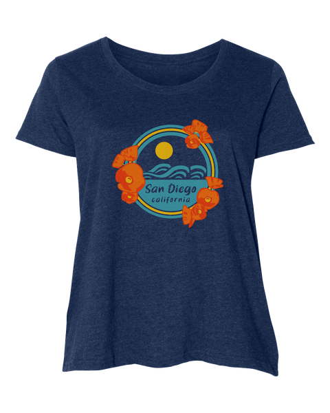 Women's Adult Curvy T-shirt : Poppy Sunset
