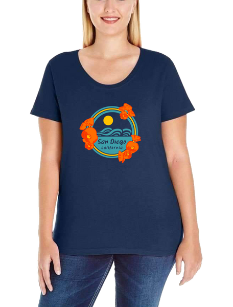 Poppy Sunset Womens Curvy Tee