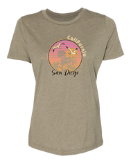 Women's olive gray short-sleeve crew-neck t-shirt with sunset palm tree design with seagulls and San Diego California verbiage
