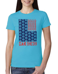 Women's turquoise crew neck short-sleeve t-shirt with red San Diego verbiage and surfboard faux flag design with blue flowers