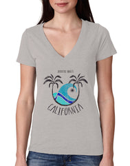 Women's light grey v-neck tee shirt with Adventure Awaits California verbiage and colorful palm tree beach wave sun design
