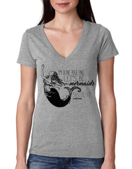 Women's light grey v-neck short-sleeve t-shirt with I'm done adulting let's be mermaids verbiage in black with mermaid tail