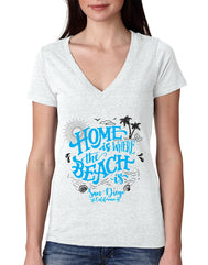 Vintage White women's v-neck t-shirt with verbiage Home is Where the Beach is San Diego California with the sun palm trees beach