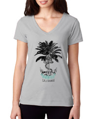 Vintage grey women's v-neck t-shirt with verbiage California and sketched palm tree turning into an anchor with rope and the word SEA