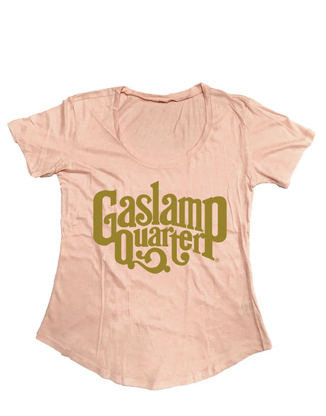 Women's Solid Blush pink scoop neck tee with the Gaslamp Quarter logo featured in the middle in Gold Shimmer Print