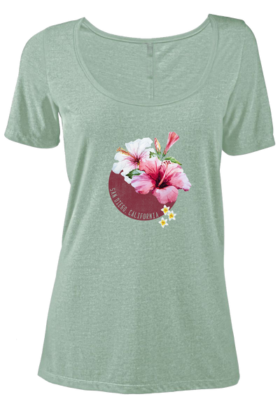 Women's light green scoop neck tee with pink, white, yellow hibiscus flower design and San Diego California verbiage