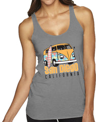 Women's light gray racer back tanktop shirt with colorful patterned vintage bus and surfboard design and California verbiage