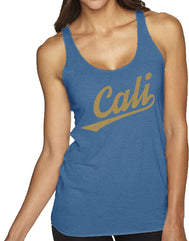 Women's Heather Royal racerback tank top with verbiage Cali in a cursive font and a gold shimmer color on the front center