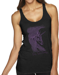 Women's Heather Black racerback tank top with a realistic unicorn sketch in purple and verbiage I'm Uni-corny