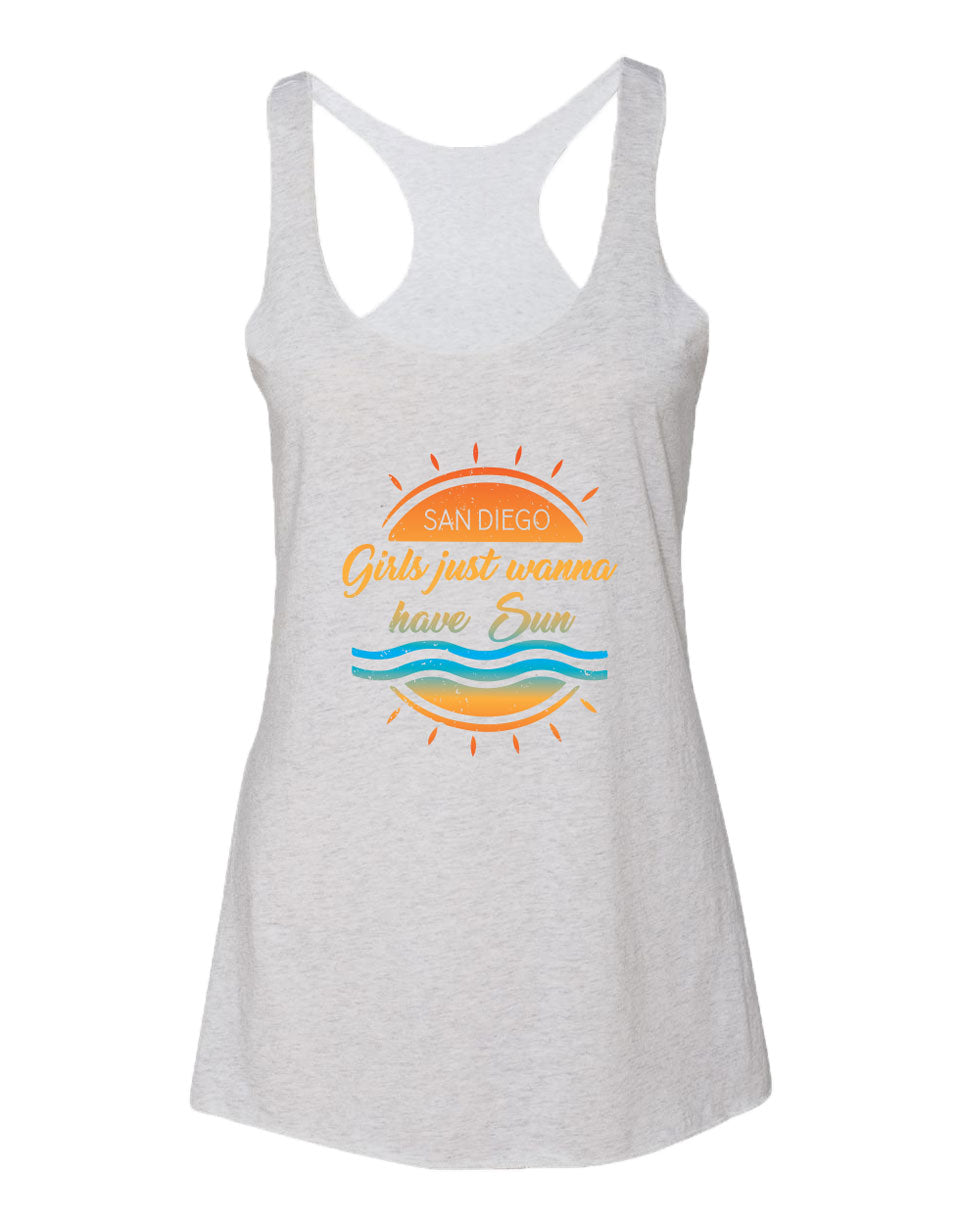 Vintage White women's razor back tank top with verbiage San Diego Girls just wanna have sun on a sun with 2 lines as waves