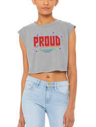 Ladies or Men Crop top muscle tank top with purple stars and verbiage Proud in red with rainbow lined trail shadow. Design made in California, USA inspired by NASA, Pride, LGTBQ lesbian gay transsexual bisexual queer community.